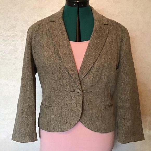 Anthropologie Jackets & Blazers - Anthropologie Tabitha Linen Tweed Cropped Blazer